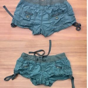 🌸BLUE SPICE Green Crumpled Chino Cargo Shorts - 1